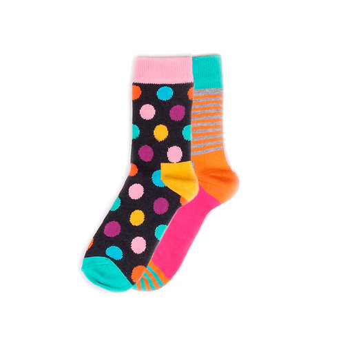 Happy Socks Kids 2 Pair Pack - Big Dot & Stripe