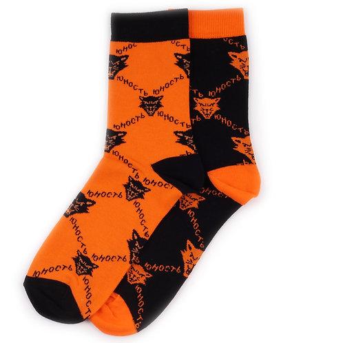 Yunost Socks Mismatched - Cat - Black/Orange