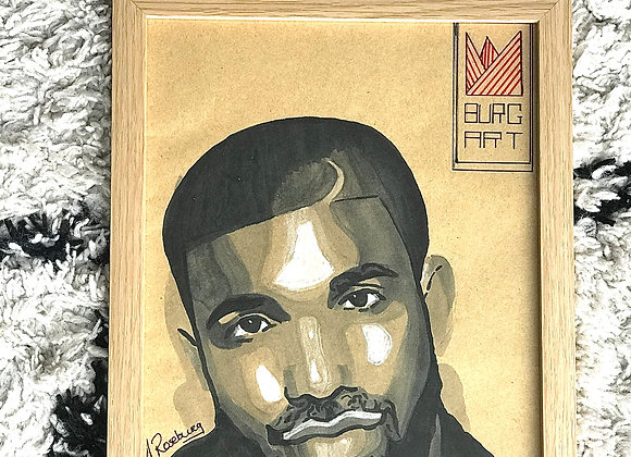 "FRAMED CUSTOM SKETCH ART: DRAKE (21X30 CM/ 9""X12"" INCH)"