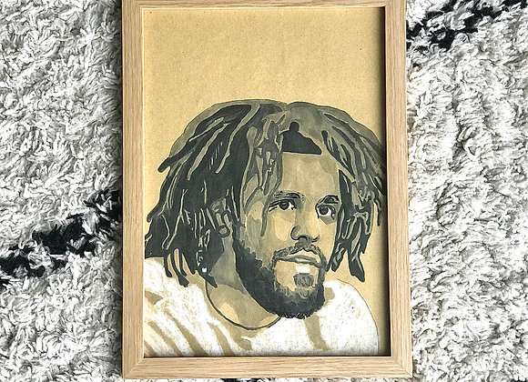 "FRAMED CUSTOM SKETCH ART: J COLE (21X30 CM/ 9""X12"" INCH)"