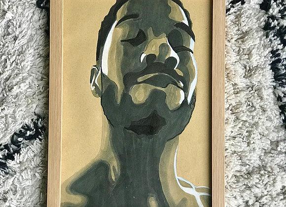 """FRAMED CUSTOM SKETCH ART: KID CUDI (21X30 CM/ 9""""X12"""" INCH)"""