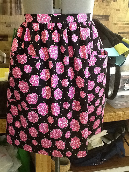 Pink roses - half apron