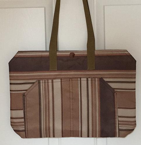 Tan/Brown striped tote