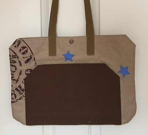 Blue stars and tan/brown tote