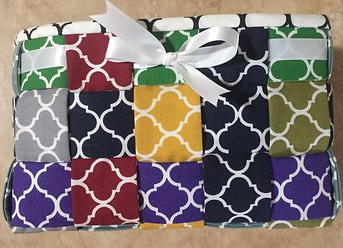 """""""Quatrefoil"""" style fabric basket"""
