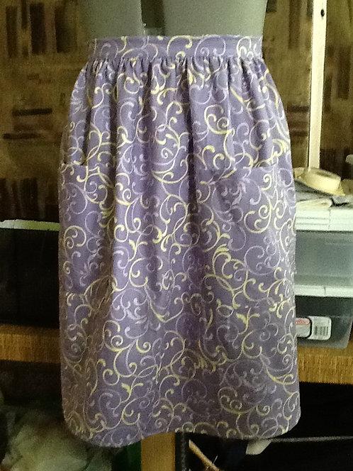 Lilac and yellow swirls half apron