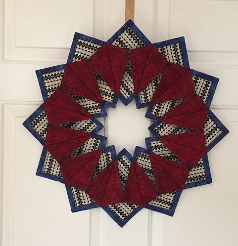 Southwest fabric 'Fold 'n Stitch' wreath