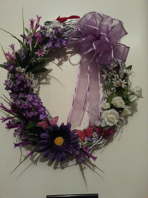 Lilac and white flowered wreath