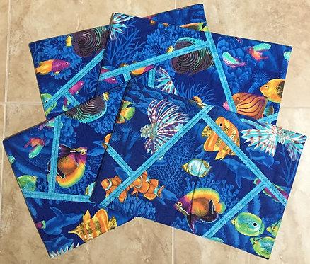Set of 4 'ocean fish' placemats