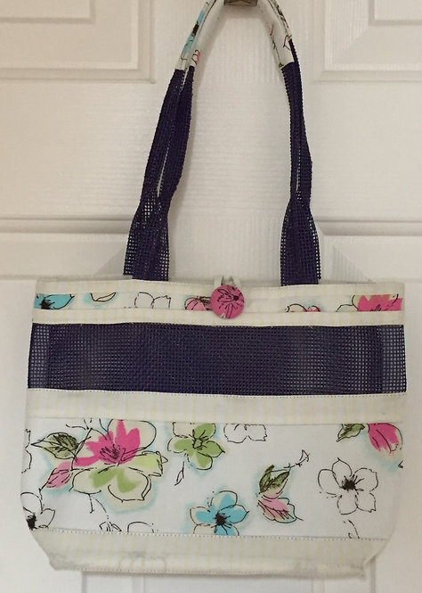 'Hand painted' flowers mesh tote