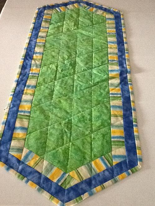 Lime green batik table runner