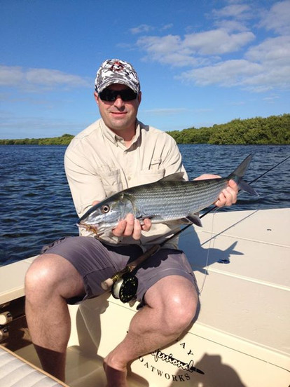 Got My buddy Doug from Colorado his first Keys Bonefish his biggest to date!!!