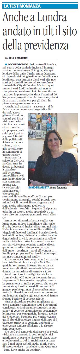 Anna Quaranta's original interview to Gazzetta del Mezzogiorno