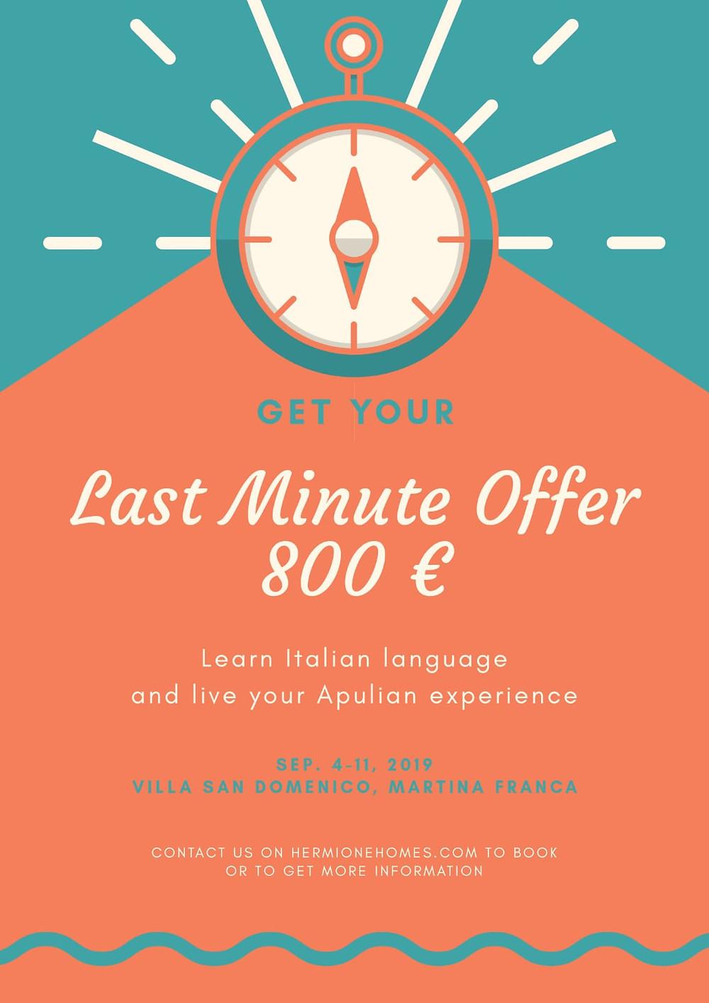 offer, last minute offer, Hermione Homes, R.italy, Roberta Capotondi, italian, italian teaching, italian course
