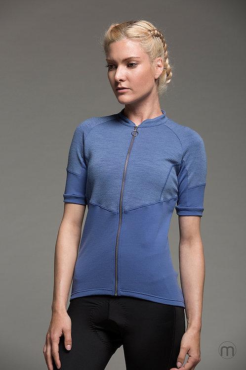 Essential Merino cycling jersey - Avio Blue
