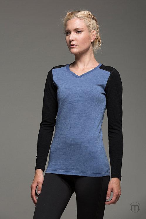 Merino long sleeved v neck baselayer - Avio Blue + Black