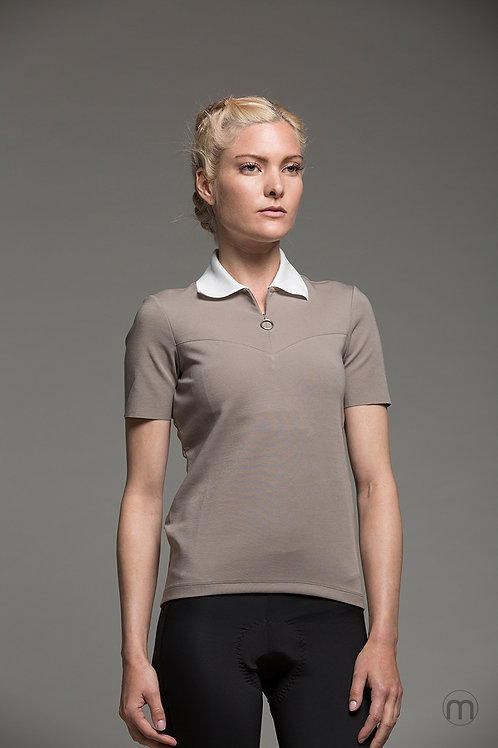 Contrast cycling polo - Sand/White