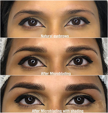 Microblading with ombre shading