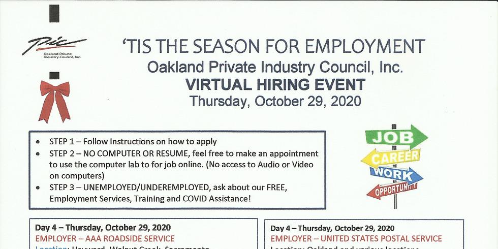 Virtual Hiring Event Thursday October 29, 2020