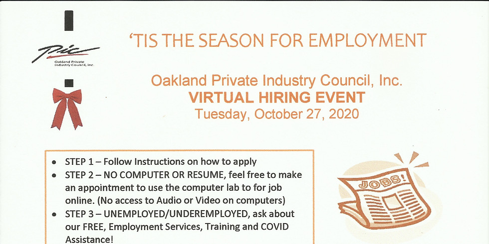 Virtual Hiring Event Tuesday October 27, 2020