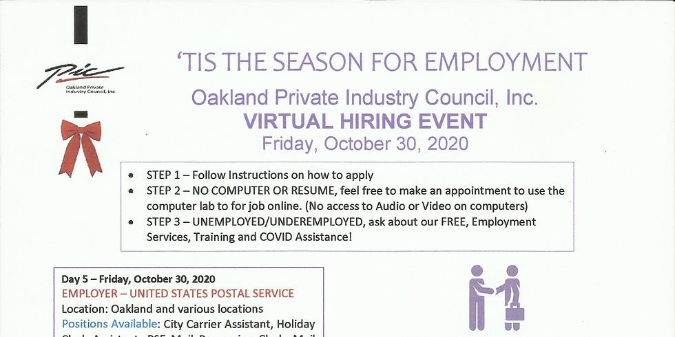 Virrtual Hiring Event Friday October 30, 2020