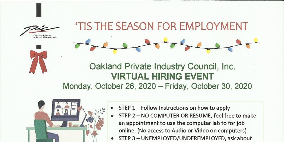 Monday October 26, 2020 Virtual Hiring Event