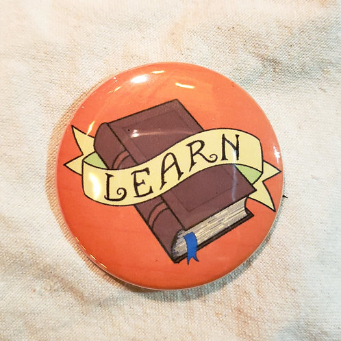 """LEARN Dungeons & Dragons Wizard 2.25"""" Pinback Button"""