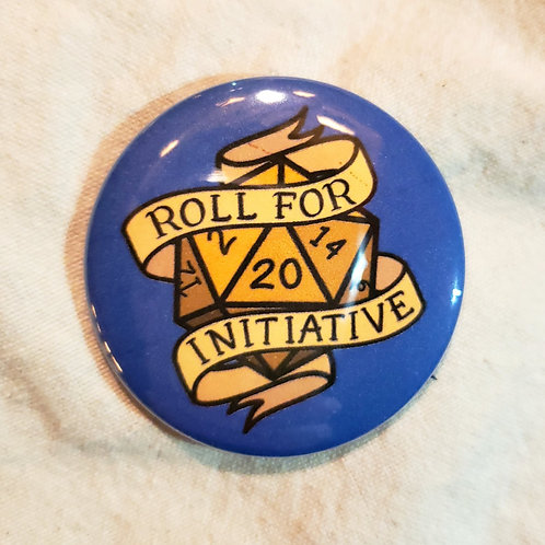 """Roll for Initiative D20 D&D Pathfinder RPG 2.25"""" Pinback Button"""