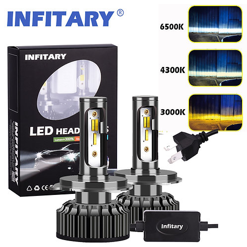 INFITARY A6 LED Car Headlight Bulbs Yellow White Light 3color Auto Headlamp