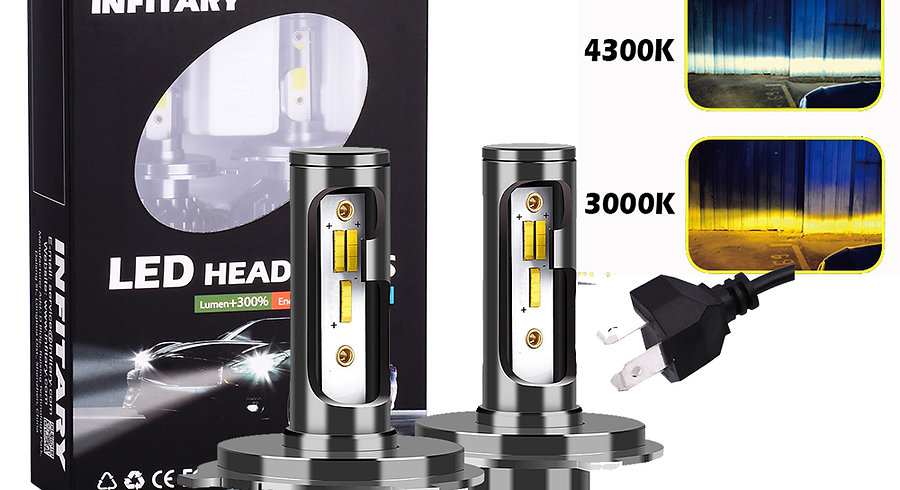 INFITARY A6 LED Car Headlight Bulbs Yellow White Light 3color Auto Headlamp