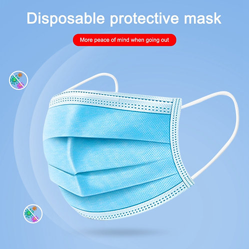 2 x 50Pcs/Lot Disposable Face Masks 3-layer Non-Woven Masks Anti Virus Dust