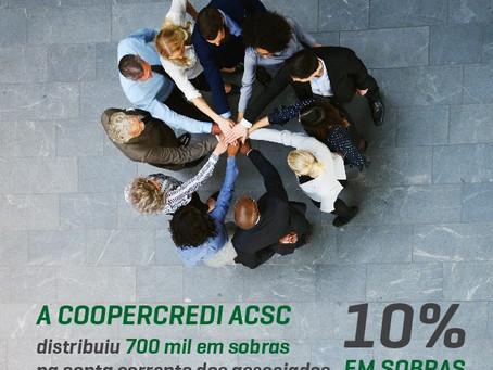 Cooperativa distribui R$ 700 mil em Sobras