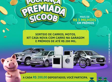 Poupança premiada: Sicoob distribuirá mais de R$ 3 milhões em prêmios