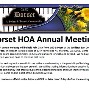 Dorset Annual Homeowners Meeting