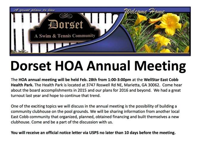 Dorset Annual Homeowners Meeting