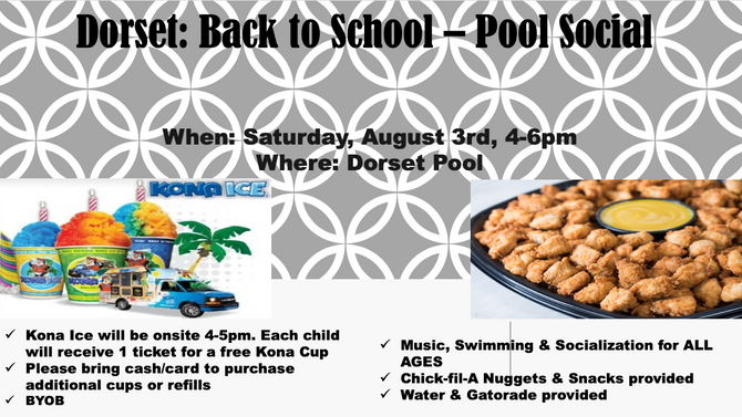 Back to School Social on August 3rd