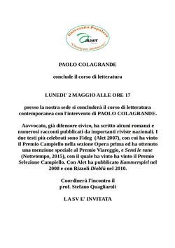 Incontro con Paolo Colagrande