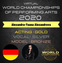 """World Championships of Performing Arts"" LA Hollywood (Virtual) Wettbewerb Finalistin /Medaillen Gewinnerin"