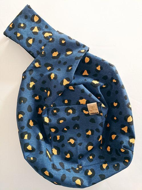 Navy Leopard WIP Knot Bag