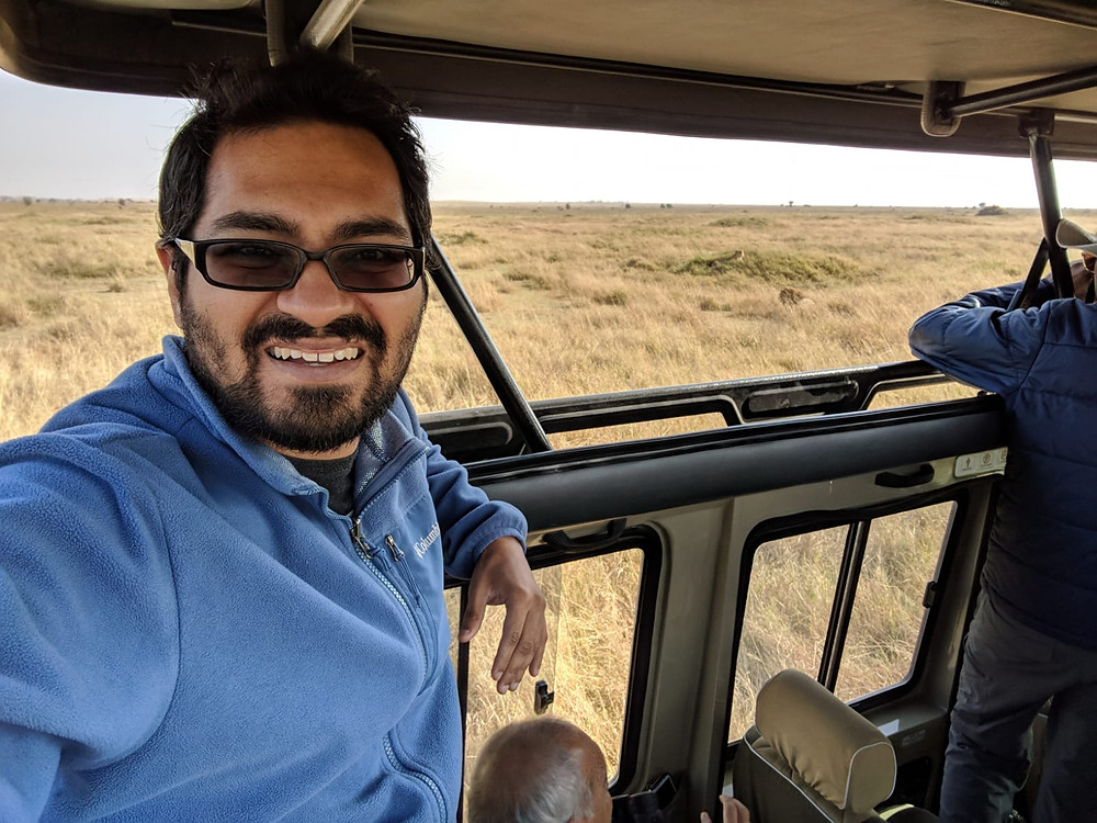 Sachin Shah likes a good adventure, such as this safari.