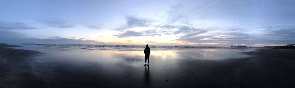 Frank, one of VeganMed med researchers, stands on the beach at sunset facing the ocean.