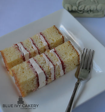 Slices of vanilla rum cake filled with guava