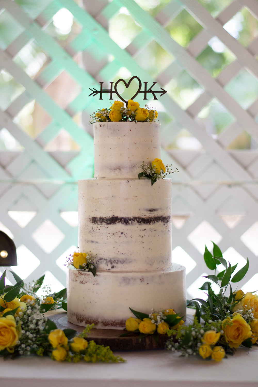 Semi Naked Wedding Cake - Flamingo Gardens