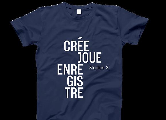 T-shirt unisexe Crée-joue-enregistre - Studios 3