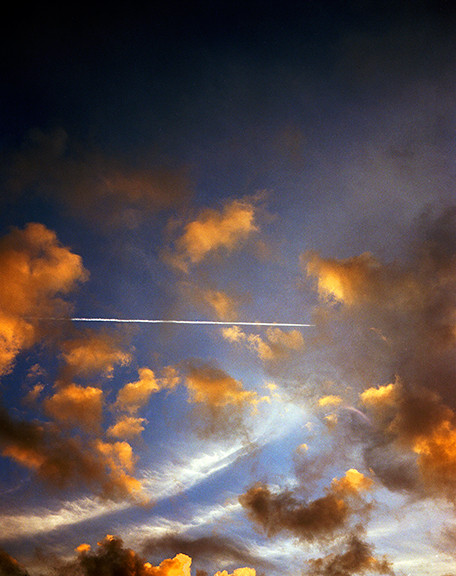 Clouds & Contrail Aerial Skyscape 2