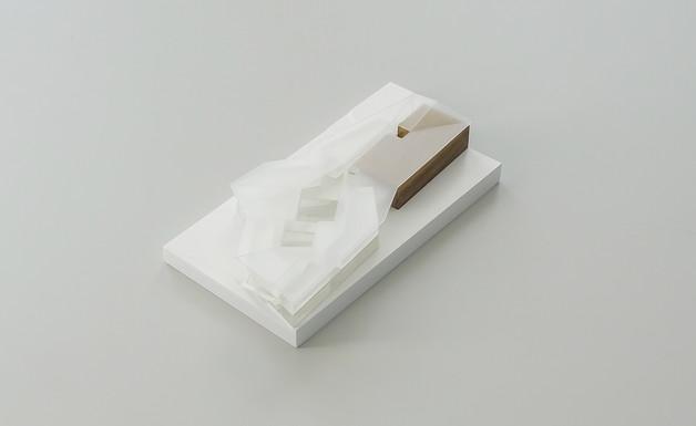 Architekturmodell in Maßstab 1:500, Modell Materialien: Polystyrol, Plastik, Holz