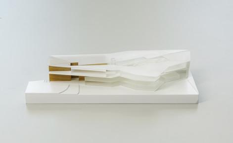 Weiß Architekturmodell in Maßstab 1:500, Modell Materialien: Polystyrol, Plastik, Holz