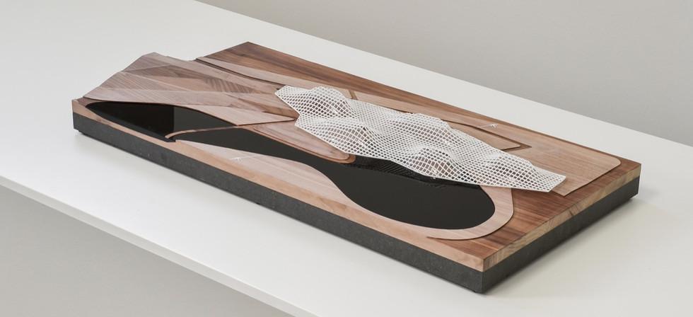 Austellungsmodell - DMMA, Austellungsmodell in Maßstab 1:1000, Modell Materialien: Holz, Metal, Plastik, Polystyrol, Acryl