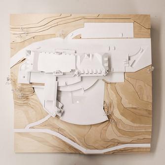Architekturmodell in Maßstab 1:200, Modell Materialien: Holz,Kunststoff
