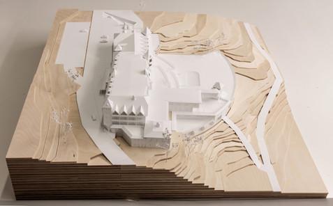 Geländemodell in Maßstab 1:100, Modell Materialien: Sperholz,  Polystyrol